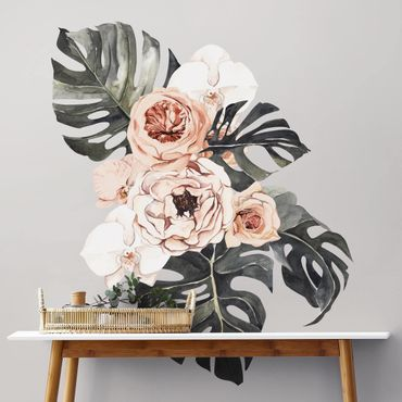 Wandtattoo - Aquarell Monstera Bouquet XXL