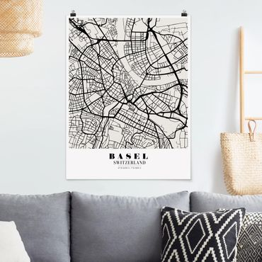 Poster - Stadtplan Basel - Klassik - Hochformat 3:4