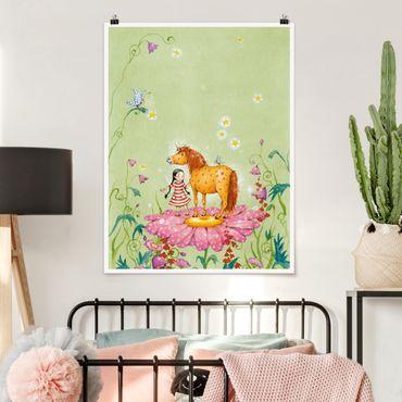 Poster - Das Zauberpony auf der Blüte - Hochformat 3:4