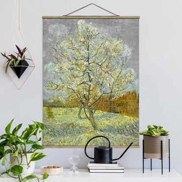 Stoffbild mit Posterleisten - Vincent van Gogh - Pfirsichbaum rosa - Hochformat 3:4