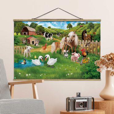 Stoffbild mit Posterleisten - Animal Club International - Tiere auf dem Bauernhof - Querformat 2:3