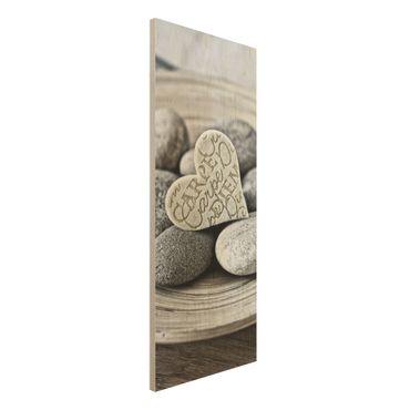 Holzbild - Carpe Diem Herz mit Steinen - Panel