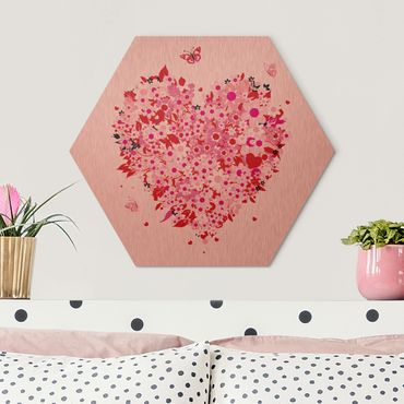 Hexagon Bild Alu-Dibond - Floral Retro Heart