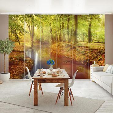 Schiebegardinen Set - Herbstwald - Flächenvorhänge