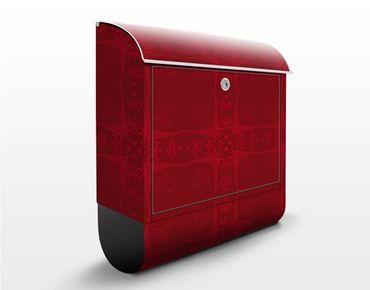 Briefkasten Rot mit Zeitungsfach - Rotes Orient Ornament - Wandbriefkasten