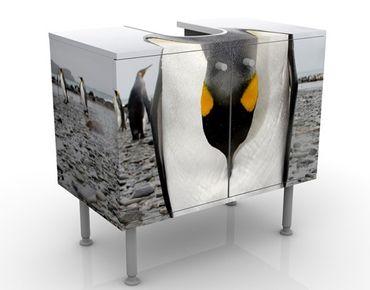 Waschbeckenunterschrank - Pinguin - Badschrank Weiß Grau