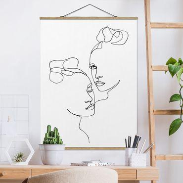 Stoffbild mit Posterleisten - Line Art Gesichter Frauen Schwarz Weiß - Hochformat 3:4