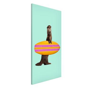 Magnettafel - Jonas Loose - Otter mit Surfbrett - Memoboard Hochformat 4:3