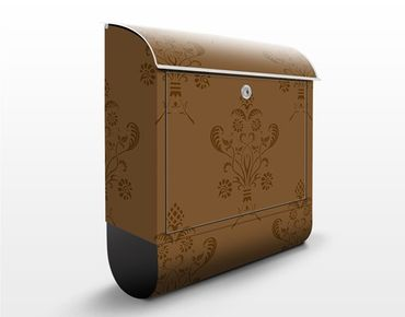 Briefkasten mit Zeitungsfach - Romantisches Bouquet Braun - Wandbriefkasten