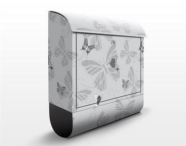 Briefkasten mit Zeitungsfach - Schmetterlinge Monochrom - Briefkasten mit Tiermotiv