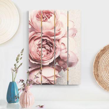 Holzbild - Rosa Pfingstrosenblüten Shabby Pastell - Hochformat 3:2