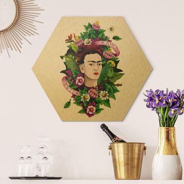Hexagon Bild Alu-Dibond - Frida Kahlo - Frida, Äffchen und Papagei