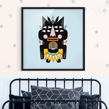 Bild mit Rahmen - Collage Ethno Monster - Häuptling - Quadrat 1:1