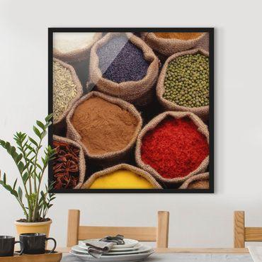 Bild mit Rahmen - Colourful Spices - Quadrat 1:1