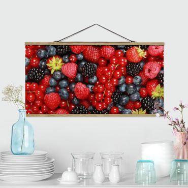 Stoffbild mit Posterleisten - Fruchtige Waldbeeren - Querformat 1:2