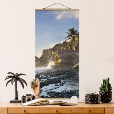 Stoffbild mit Posterleisten - Sonnenuntergang im Inselparadies - Hochformat 2:1