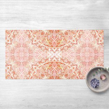 Vinyl-Teppich - Mandala Aquarell Ornament orange - Querformat 2:1