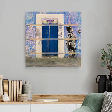 Holzbild - Blauer Haupteingang - Quadrat 1:1