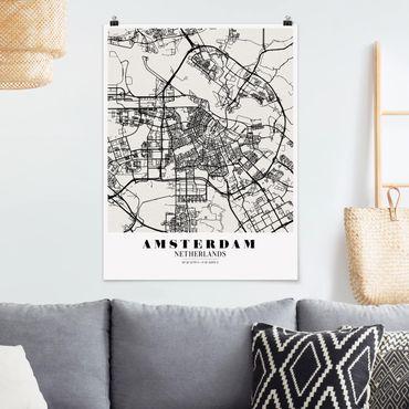 Poster - Stadtplan Amsterdam - Klassik - Hochformat 3:4