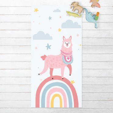 Vinyl-Teppich - Lama auf Regenbogen mit Sternen und Pünktchen - Hochformat 1:2
