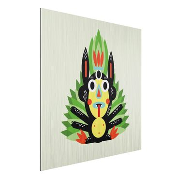 Aluminium Print gebürstet - Collage Ethno Monster - Dschungel - Quadrat 1:1