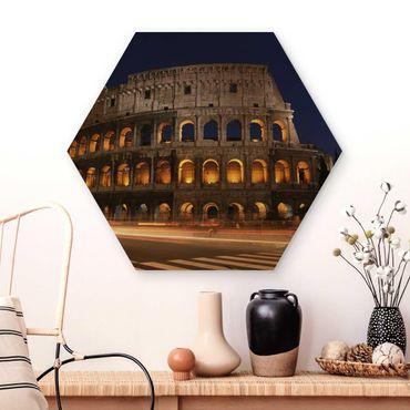 Hexagon Bild Holz - Colosseum in Rom bei Nacht