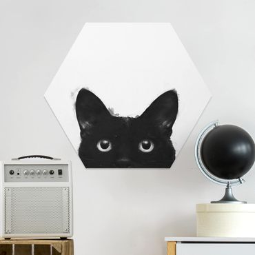 Hexagon Bild Forex - Illustration Schwarze Katze auf Weiß Malerei