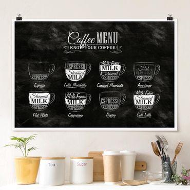Poster - Kaffeesorten Kreidetafel - Querformat 2:3