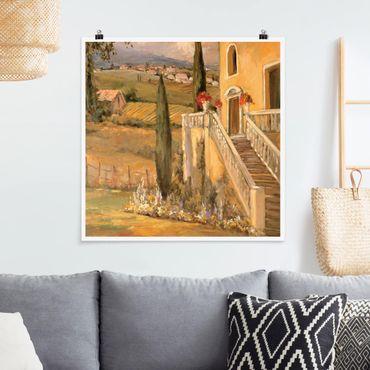 Poster - Italienische Landschaft - Haustreppe - Quadrat 1:1