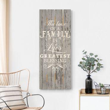 Holzbild - Shabby Holz - Family is - Hochformat 5:2
