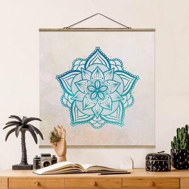 Stoffbild mit Posterleisten - Mandala Illustration Mandala gold blau - Quadrat 1:1
