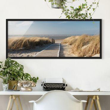 Bild mit Rahmen - Ostsee Strand - Panorama Querformat