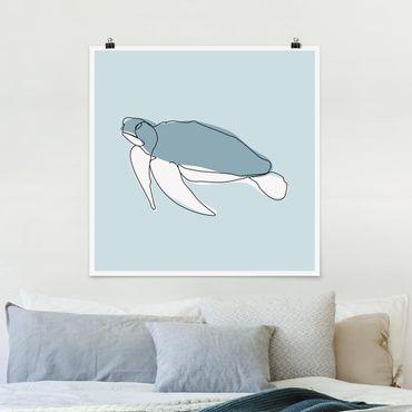 Poster - Schildkröte Line Art - Quadrat 1:1