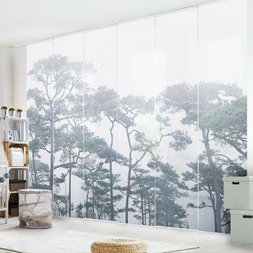 Schiebegardinen Set - Baumkronen im Nebel - 4 Flächenvorhänge