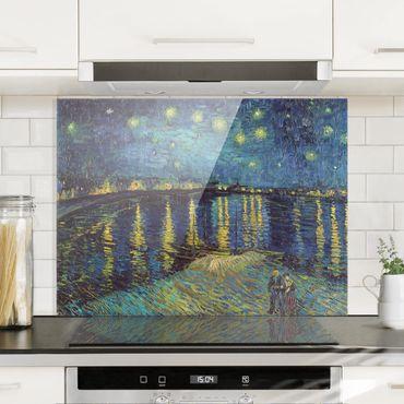Spritzschutz Glas - Vincent van Gogh - Sternennacht über der Rhône - Querformat 3:4