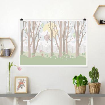 Poster - Sonne mit Bäumen und Heißluftballons - Querformat 2:3