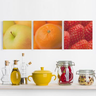 Leinwandbild 3-teilig - Frisches Obst - Quadrate 1:1