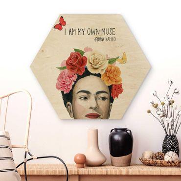 Hexagon Bild Holz - Fridas Gedanken - Muse