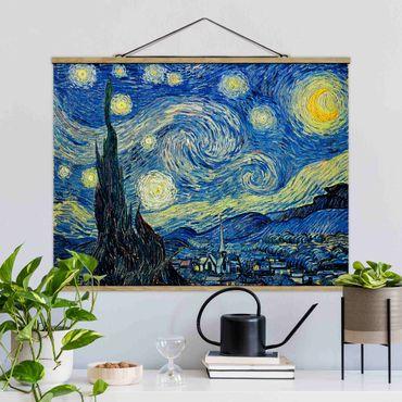 Stoffbild mit Posterleisten - Vincent van Gogh - Sternennacht - Querformat 4:3