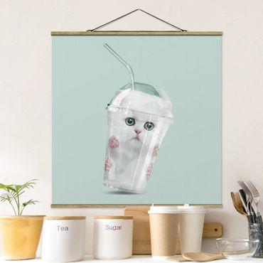 Stoffbild mit Posterleisten - Jonas Loose - Shake mit Katze - Quadrat 1:1