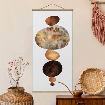 Stoffbild mit Posterleisten - Elisabeth Fredriksson - Balance Weiß Gold - Hochformat 2:1