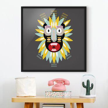 Bild mit Rahmen - Collage Ethno Maske - King Kong - Quadrat 1:1