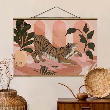 Stoffbild mit Posterleisten - Laura Graves - Illustration Tiger in Pastell Rosa Malerei - Querformat 3:2