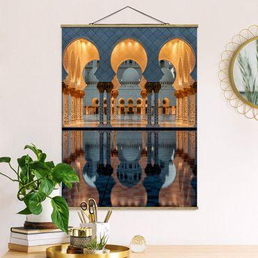 Stoffbild mit Posterleisten - Reflexionen in der Moschee - Hochformat 4:3