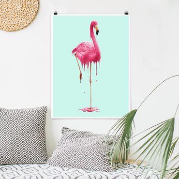 Poster - Jonas Loose - Schmelzender Flamingo - Hochformat 3:4