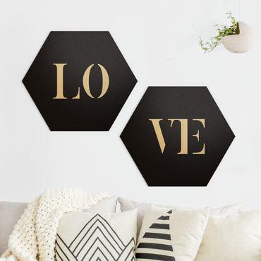Hexagon Bild Alu-Dibond 2-teilig - Buchstaben LOVE Weiß Set I