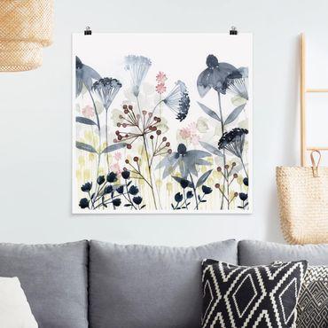 Poster - Wildblumen Aquarell I - Quadrat 1:1