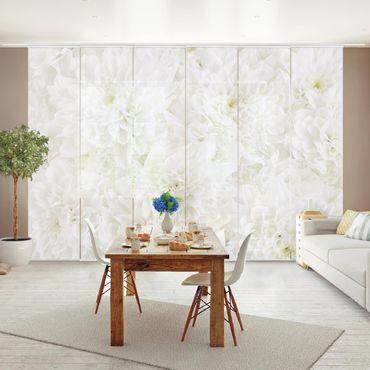 Schiebegardinen Set - Dahlien Blumenmeer weiß - Flächenvorhänge