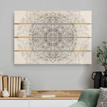 Holzbild - Mandala Aquarell Ornament Muster schwarz weiß - Querformat 2:3