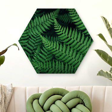 Hexagon Bild Holz - Farn